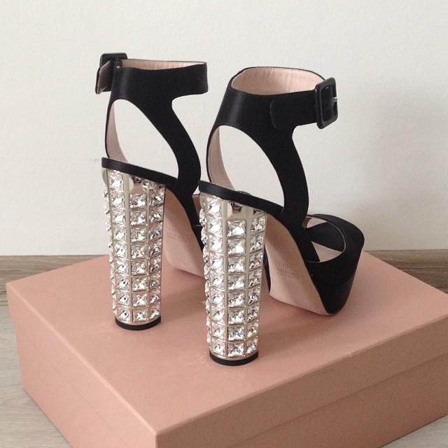 Miu Miu Crystal Heeled Sandals