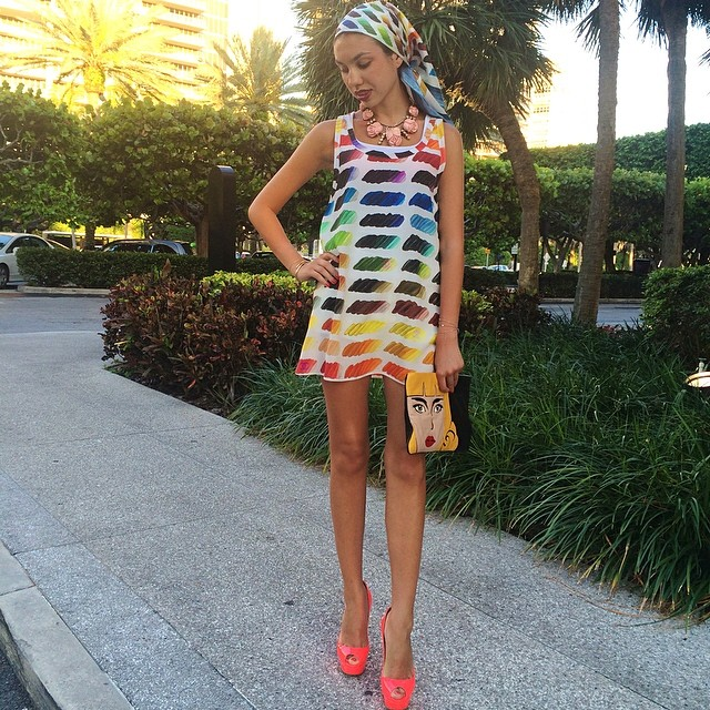 Chanel Multi Color Water Color Print Spring Summer 2014