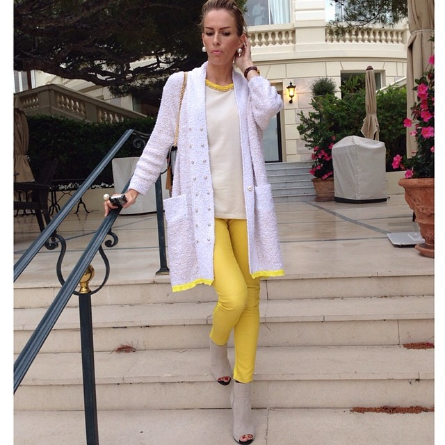 Yellow with white