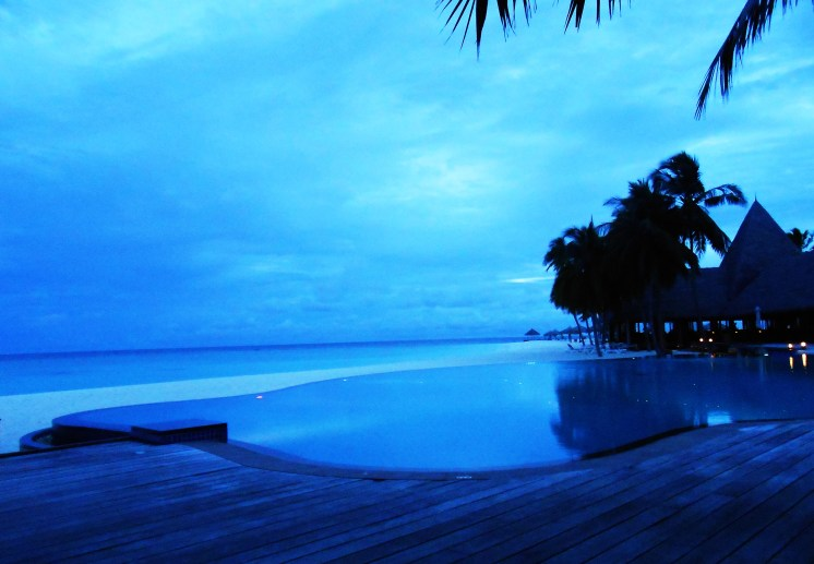 infinity pool view veligandu island maldives