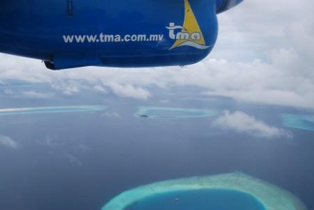 View from sea plane over maldives