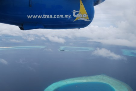 View from sea plane over maldives