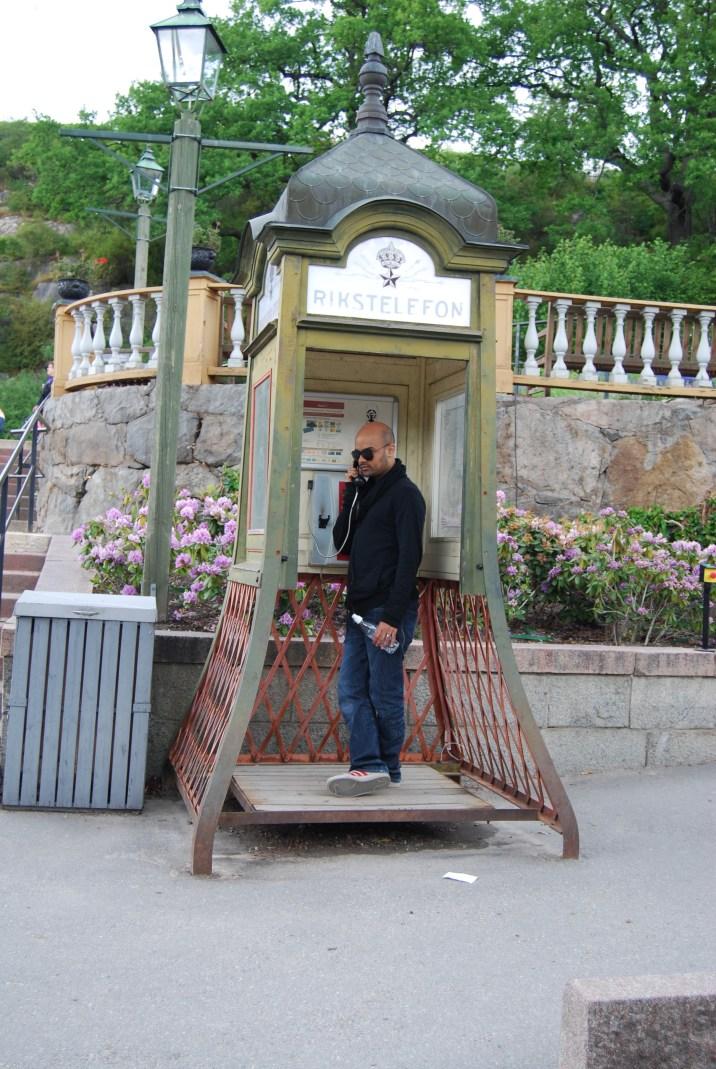 old phone box at skansen