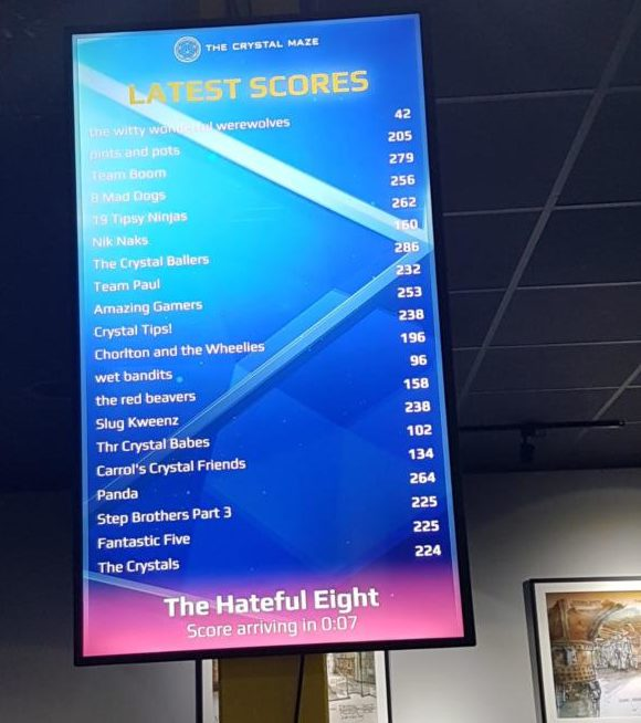 Crystal maze manchester score board screen