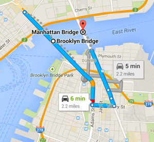 map brookly bridge manhattan bridge nyc