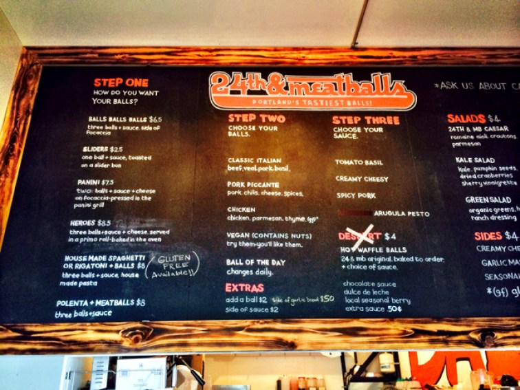 24th and meatball menu Portland Oregon