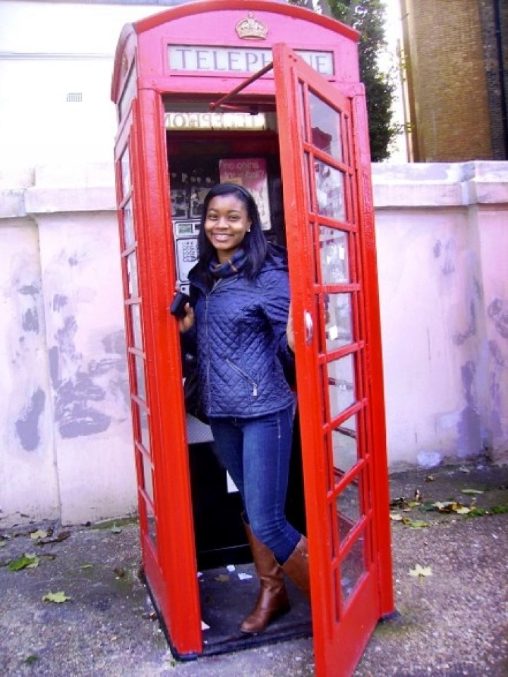 Dawn Fleming study abroad London phone booth