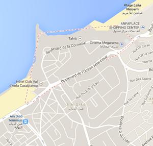 map la corniche beach casablanca morocco