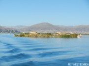 This is one of 70 floating reed islands on Lake Titicaca. Oh, and the water is even more beautiful and pristine in person; but think twice before taking a dip, as water temperatures can be as low as 10-14 degrees Celsius (50-57 degrees Fahrenheit).