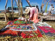 These handmade blankets serve as an important source of income for the Uros, who rely on tourists, and the tourism industry, to supplement their living.