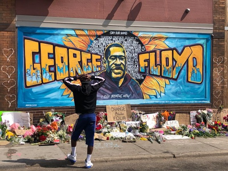 George Floyd mural in Minneapolis from Pioneer Press