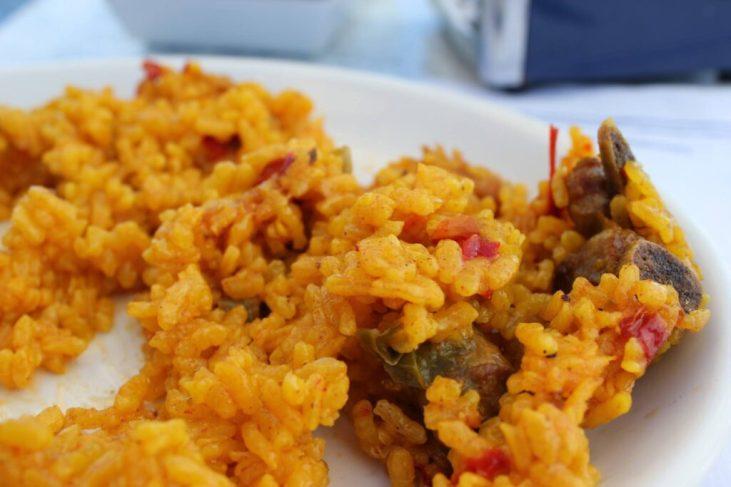 Paella dish in Hondarribia, Spain