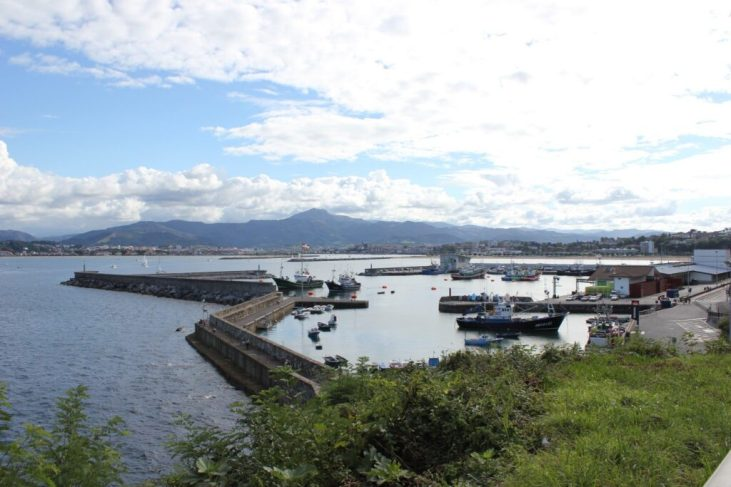 View of the fishing port from above in Hondarribia, Spain