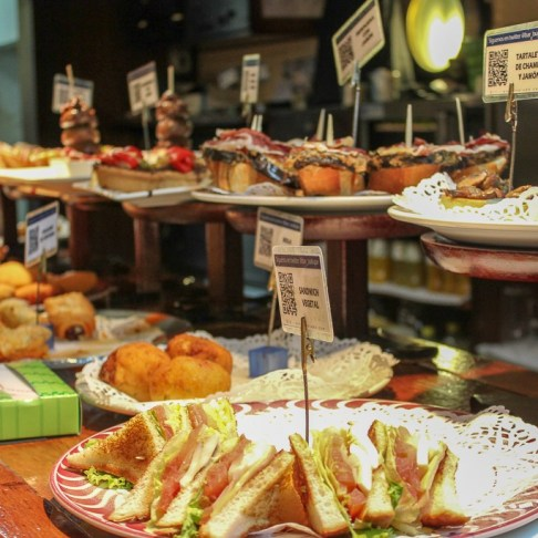 Hand-crafted pintxos in San Sebastian, Spain