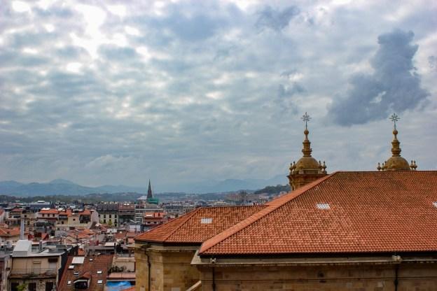 Orange-tiled rooftops of San Sebastian Old Quarter in San Sebastian, Spain
