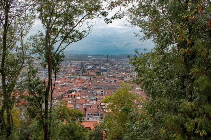 San Sebastian city viewpoint from Monte Urgull in San Sebastian, Spain