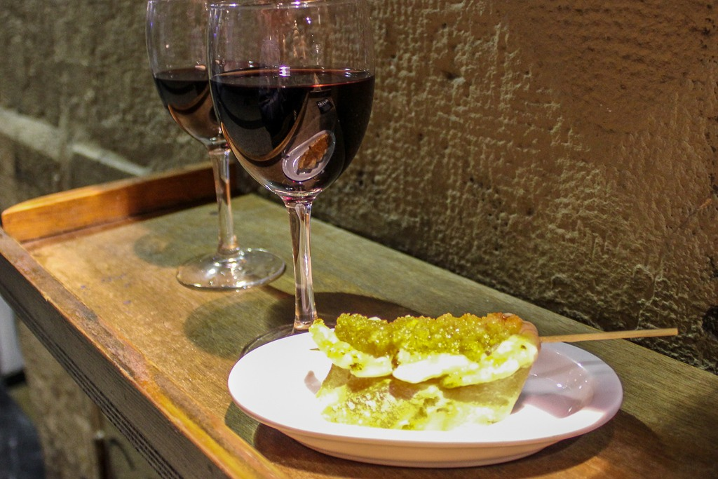 Recommended shrimp skewers at Bar Goiz-Argi in San Sebastian, Spain