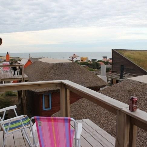 Balcony overlooking the ocean in Beach Cabin in Punta del Diablo, Uruguay