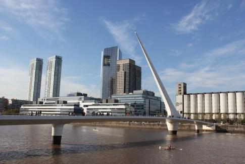 Puente de la Mujer pedestrian bridge in Puerto Madero district in Buenos Aires, Argentina