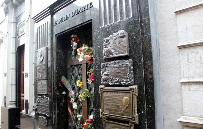 Evita Peron Gravesite in Recoleta Cemetery in Buenos Aires, Argentina