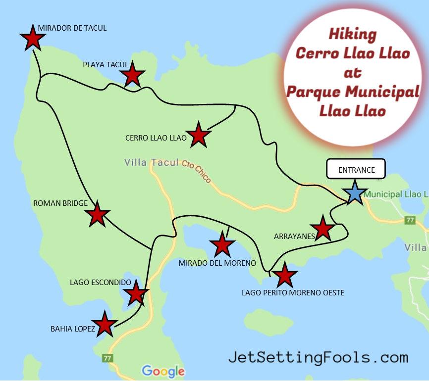 Parque Municipal Llao Llao Hiking Trail Map