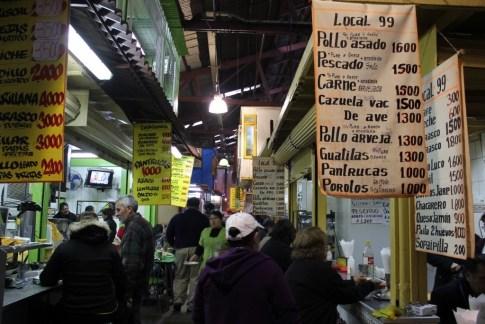 Congested aisle in La Vega Chica Market in Santiago, Chile