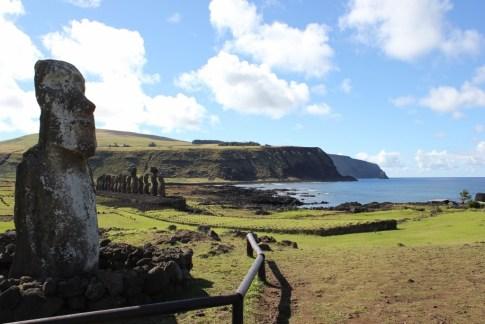 Tongariki platform and shoreline on Easter Island