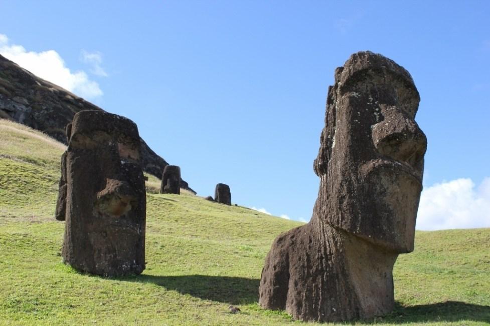 Famous Moai in Rano Raraku on Easter Island