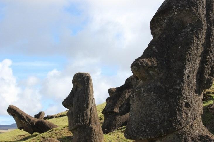 Moai half-buried at Rano Raraku on Easter Island
