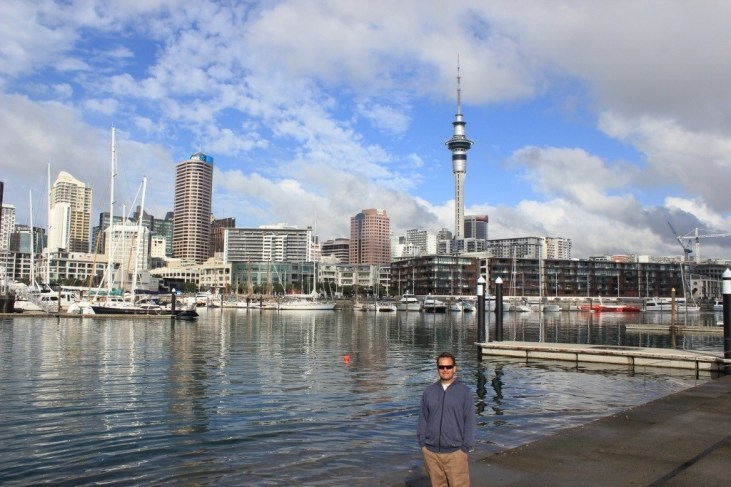 Standing on the Tidal Steps of Viaduct Harbor in Auckland, NZ
