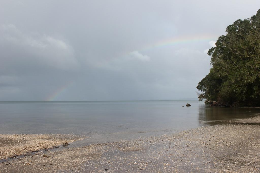 Rainbow over Titirangi Beach, Auckland, NZ