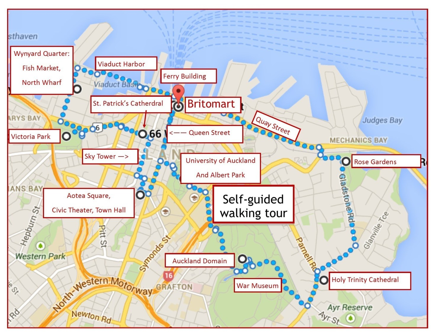 One day Auckland itinerary and self-guided walking tour Map