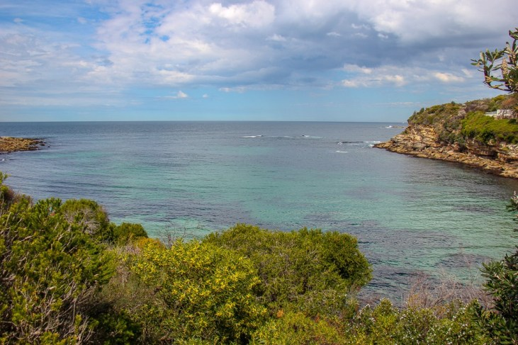 Shallow blue water in Gordons Bay near Sydney, Australia
