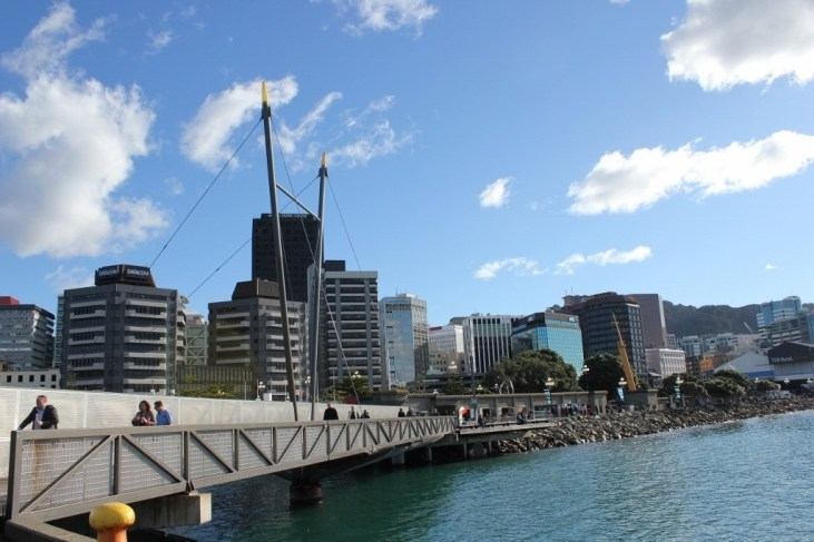 Pedestrian Bridge on the Harbour at Wellington, New Zealand