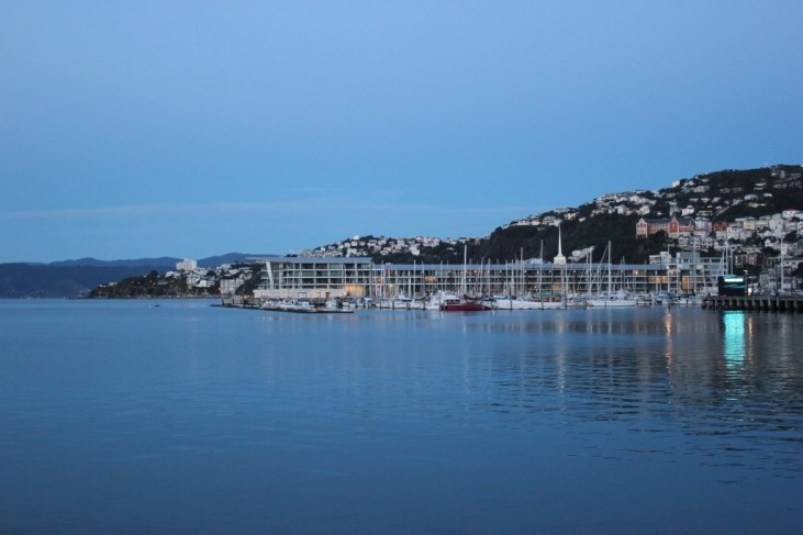 Harbor views at dusk in Wellington, New Zealand