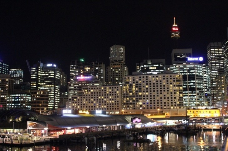 Sydney, Australia skyline at night from Darling Harbour