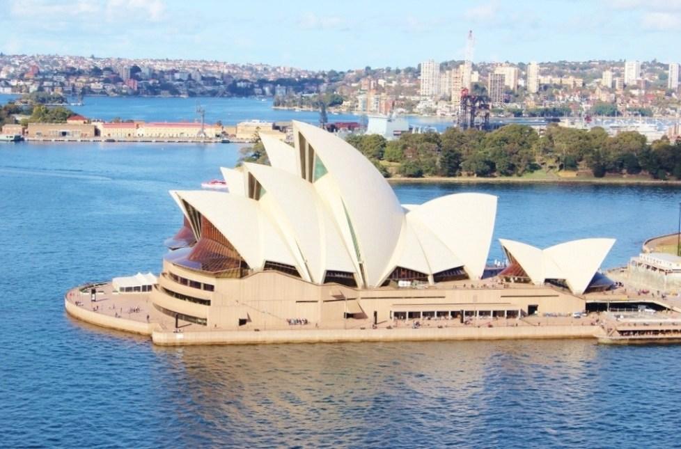 View of Sydney Opera House from Sydney Harbour Bridge Pylon in Sydney, Australia