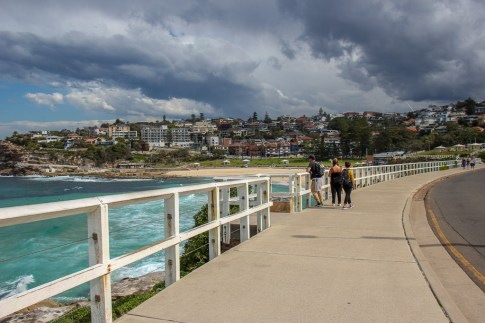 Sidewalk path between Bronte and Tamarama Beach on Bondi to Coogee Walk in Sydney, Australia