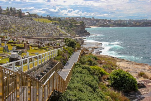 Coastal boardwalk path at Waverley Cemetery on Bondi to Coogee Coastal Walk in Sydney, Australia