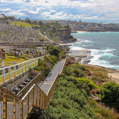 Coastal boardwalk path at Waverley Cemetery on Bondi to Coogee Coastal Walk in Sydney, Australia