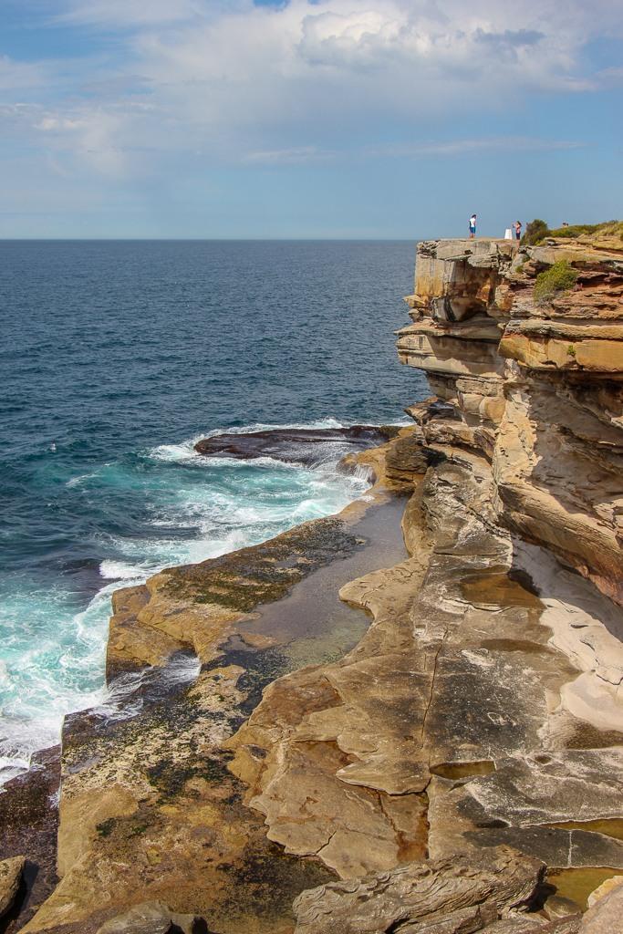 Steep cliffs at Shark Point on Bondi to Coogee Walk in Sydney, Australia