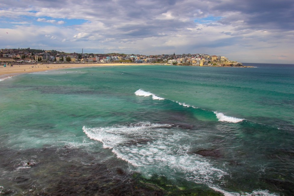 Waves crash at Bondi Beach, Sydney, Australia