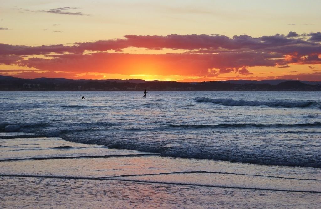 Sunset on from the beach in Coolangatta, Gold Coast, Australia