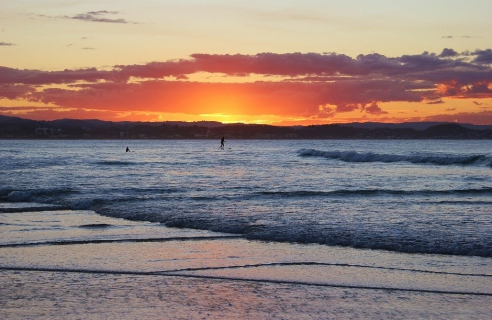 Sunset on from the beach in Coolangatta, Gold Coast, Australia
