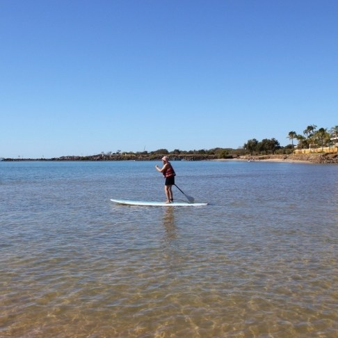 My first try at stand up paddle boarding in Coolangatta, Gold Coast, Australia