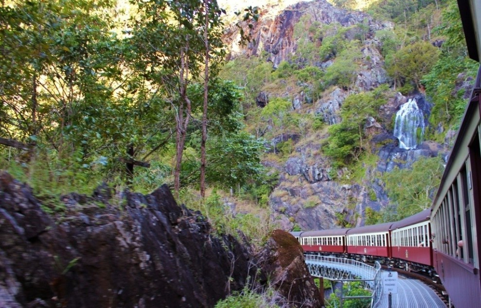 Riding the scenic train from Kuranda to Cairns in Australia