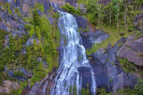 Waterfall rushing down the side of a mountain on train ride from Kuranda to Cairns, Australia