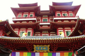 Looking up at the Buddha Tooth Relic Temple in Chinatown, Singapore