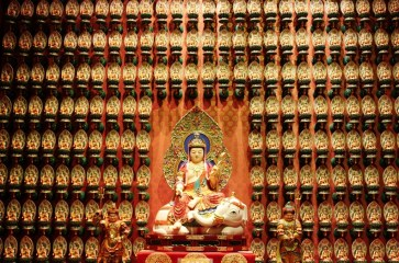 Wall of Buddha statues in Buddha Tooth Relic Temple in Chinatown, Singapore