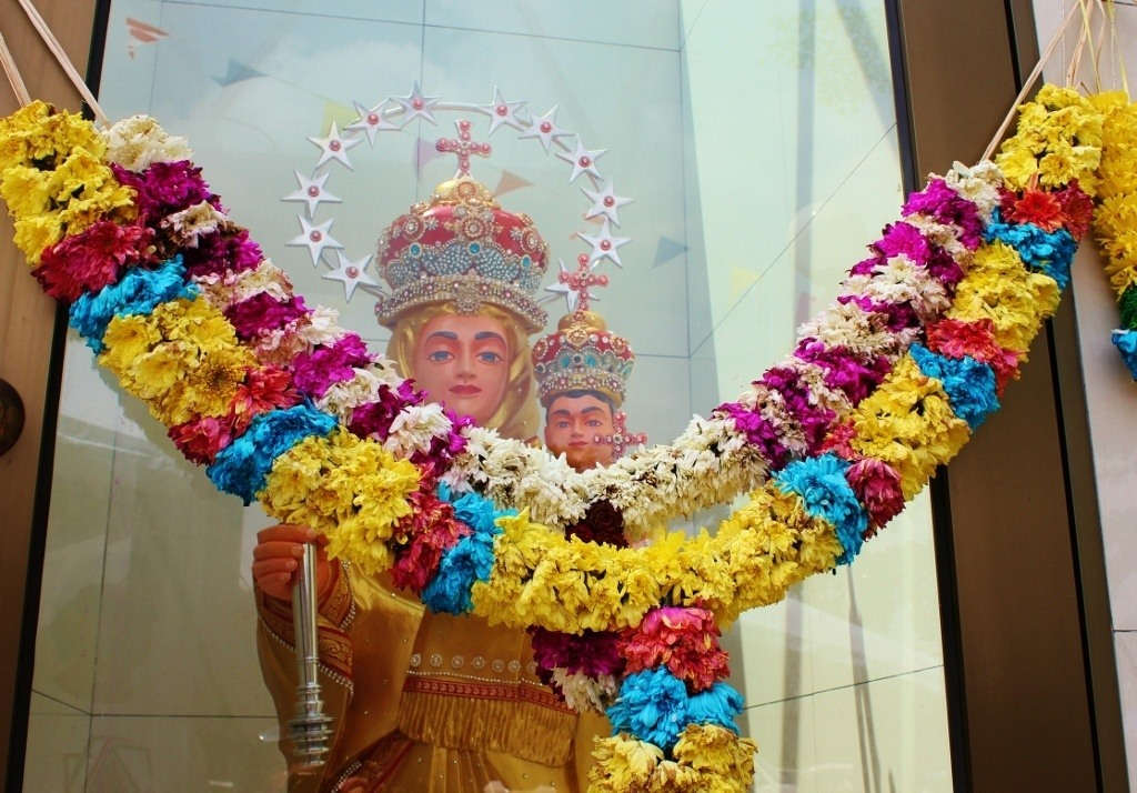 Statue of Mary at Immaculate Conception Catholic Church in Johor Bahru, Malaysia
